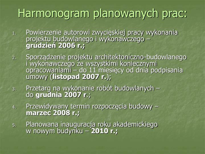 Harmonogram planowanych prac: