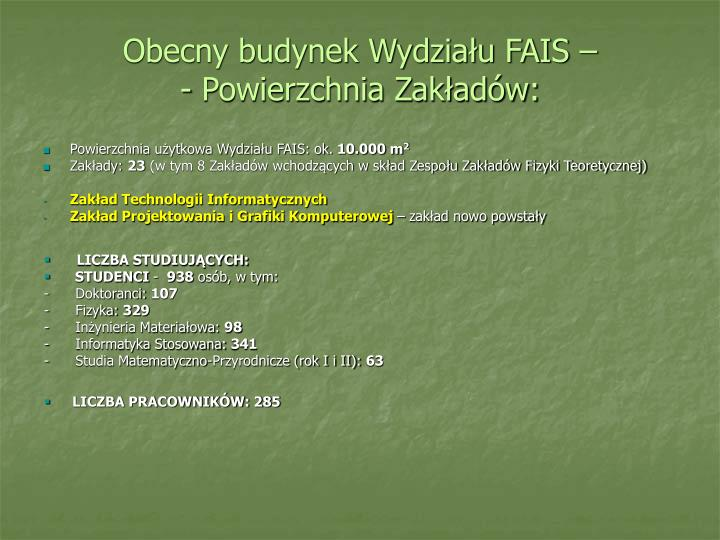 Obecny budynek Wydziału FAIS –                   - Powierzchnia Zakładów: