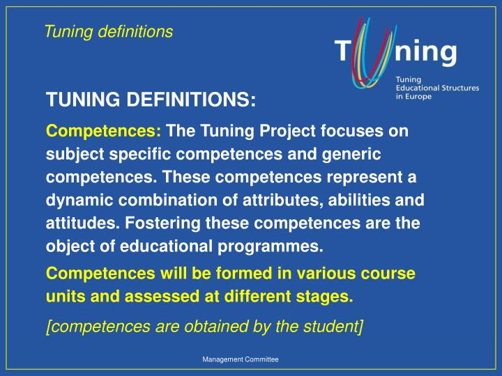 Tuning definitions