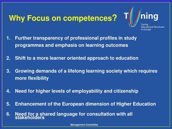 1.Further transparency of professional profiles in study programmes and emphasis on learning outcomes