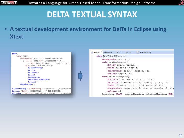 Delta textual syntax