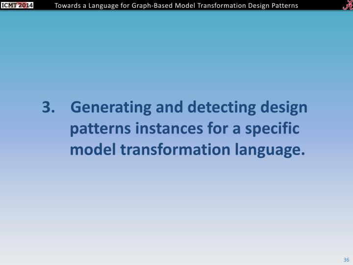 Generating and detecting design patterns instances for a specific model transformation language.