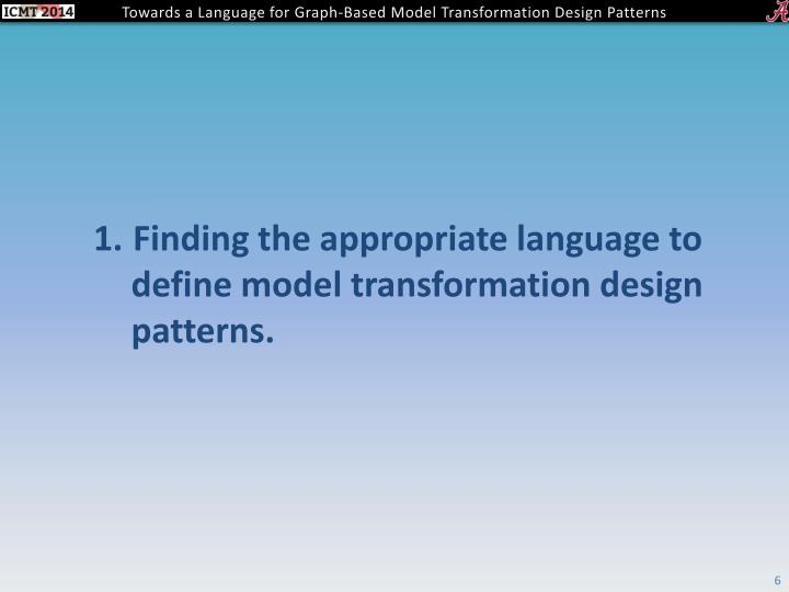 Finding the appropriate language to define model transformation design patterns.