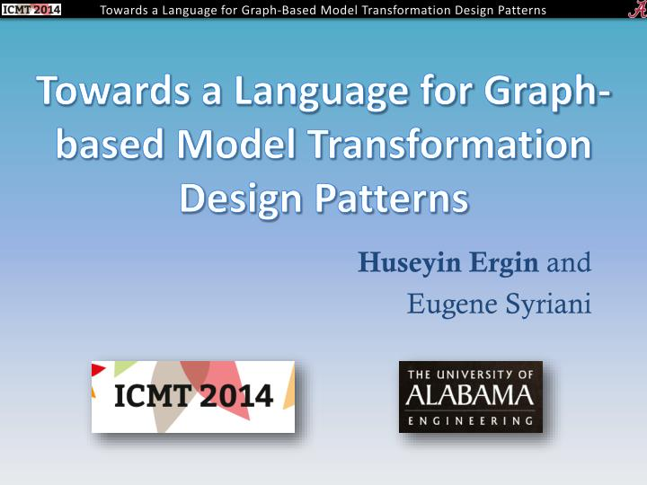 Towards a language for graph based model transformation design patterns