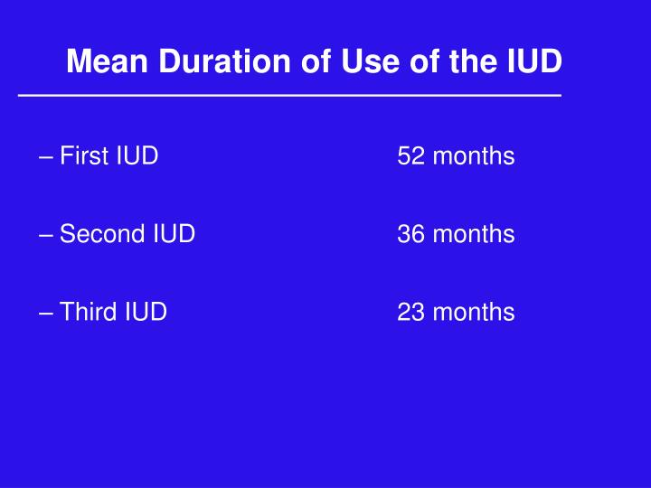 Mean Duration of Use of the IUD