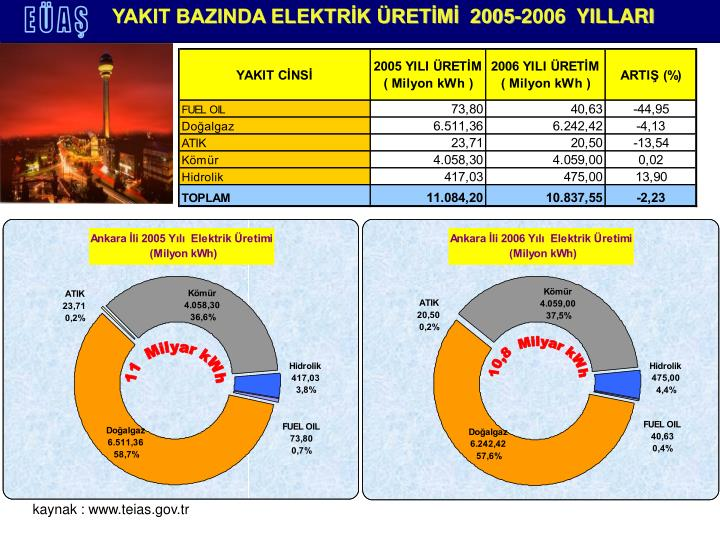 YAKIT BAZINDA ELEKTRİK ÜRETİMİ  2005-2006  YILLARI