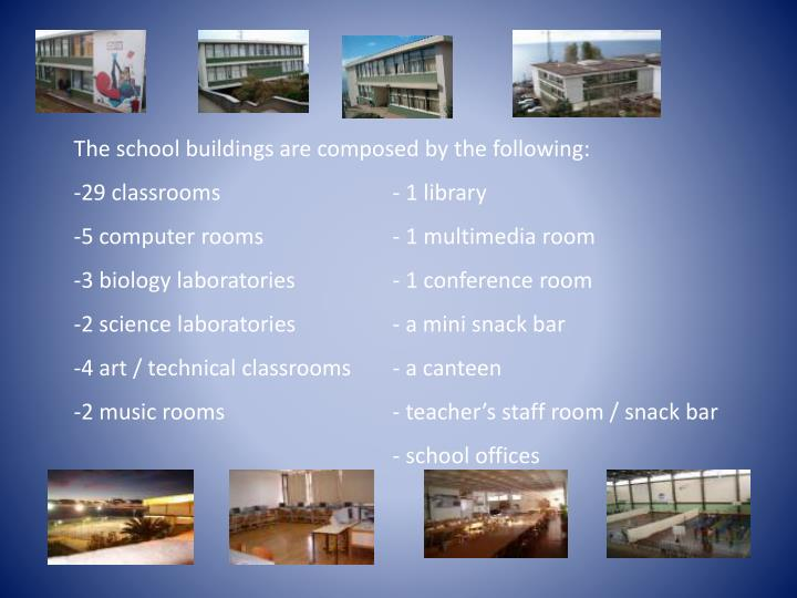 The school buildings are composed by the following: