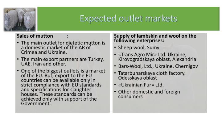Expected outlet markets