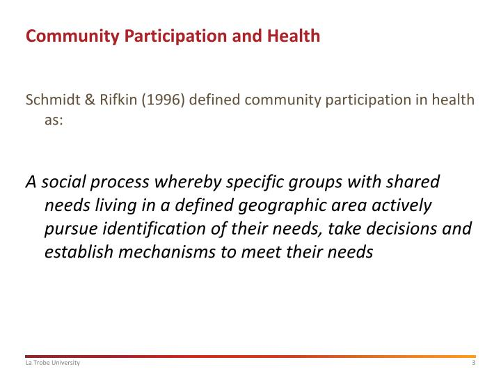 Community participation and health