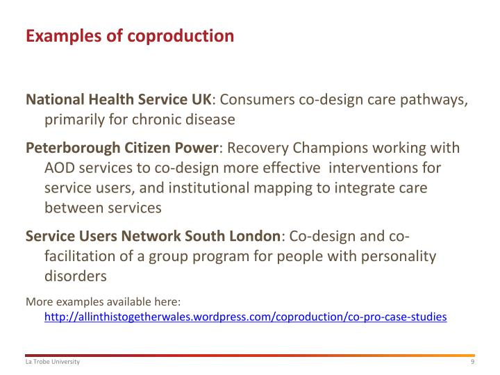 Examples of coproduction