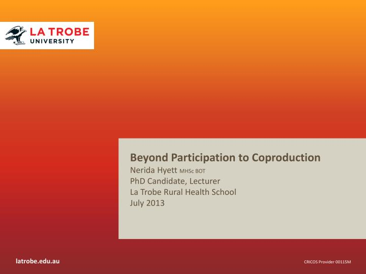 Beyond Participation to Coproduction