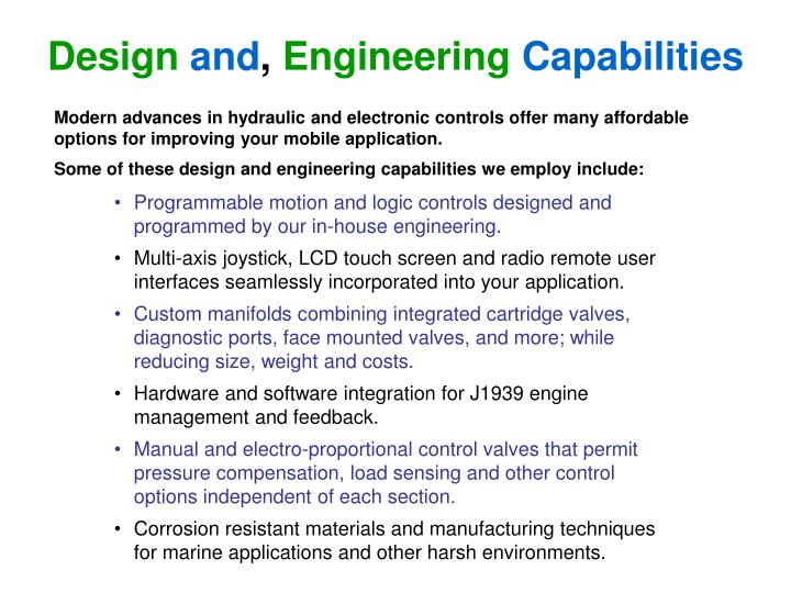 Design and engineering capabilities