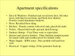 apartment specifications