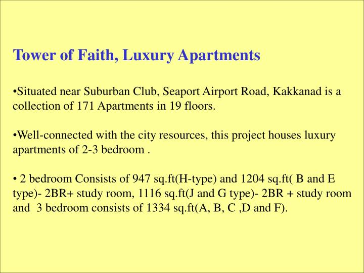 Tower of Faith, Luxury Apartments