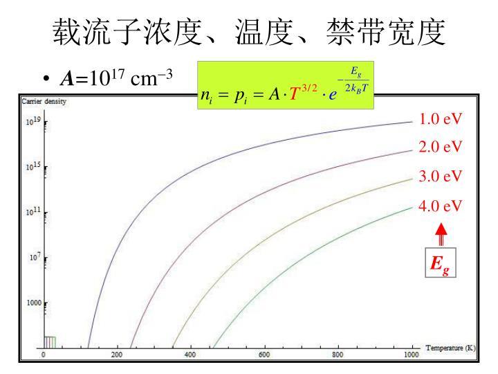 载流子浓度、温度、禁带宽度