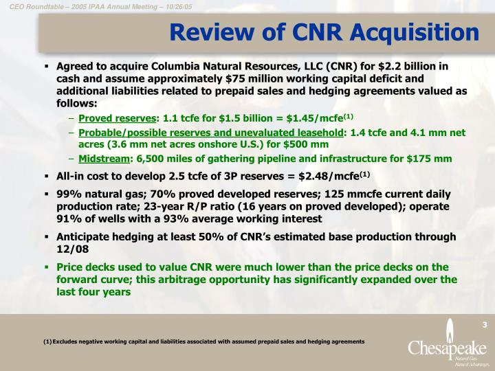 Review of cnr acquisition