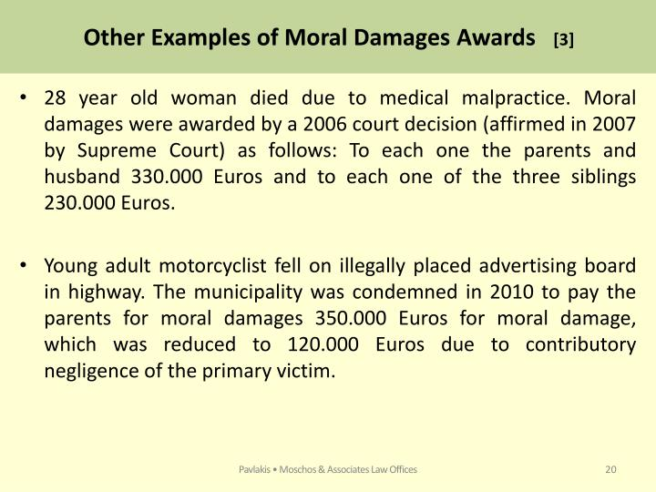 Other Examples of Moral Damages