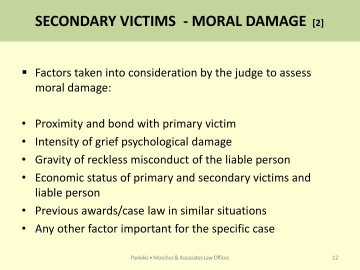 SECONDARY VICTIMS  - MORAL