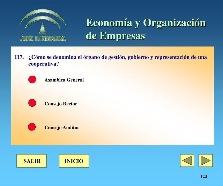 117.¿Cómo se denomina el órgano de gestión, gobierno y representación de una cooperativa?