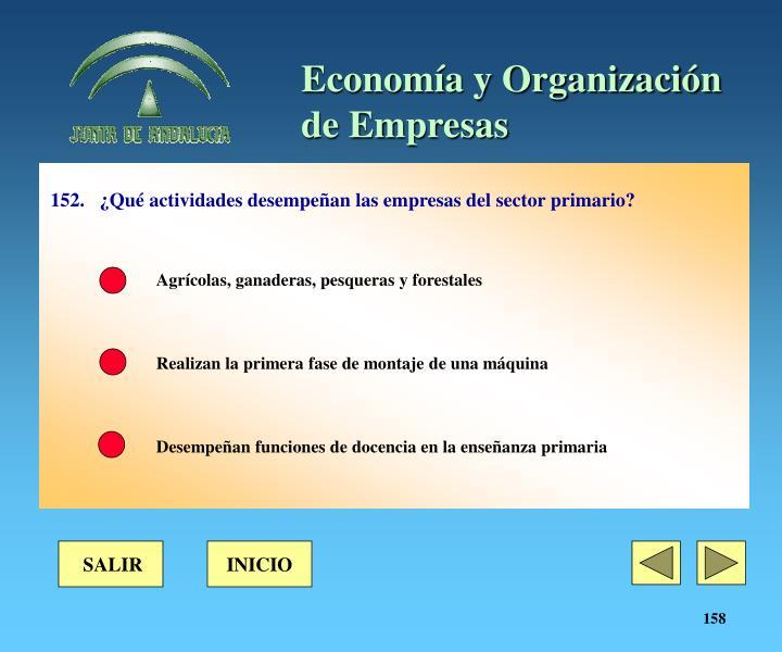 152.¿Qué actividades desempeñan las empresas del sector primario?