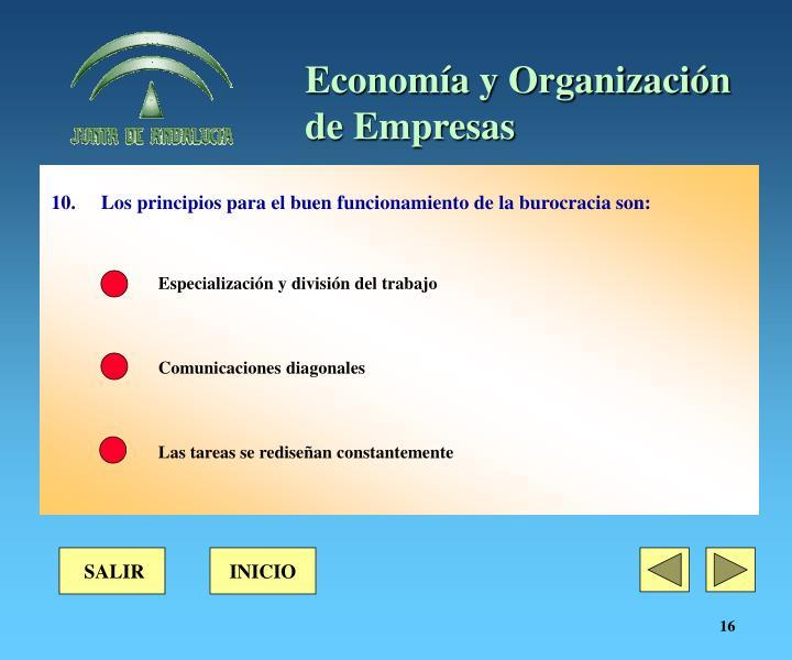 10. Los principios para el buen funcionamiento de la burocracia son:
