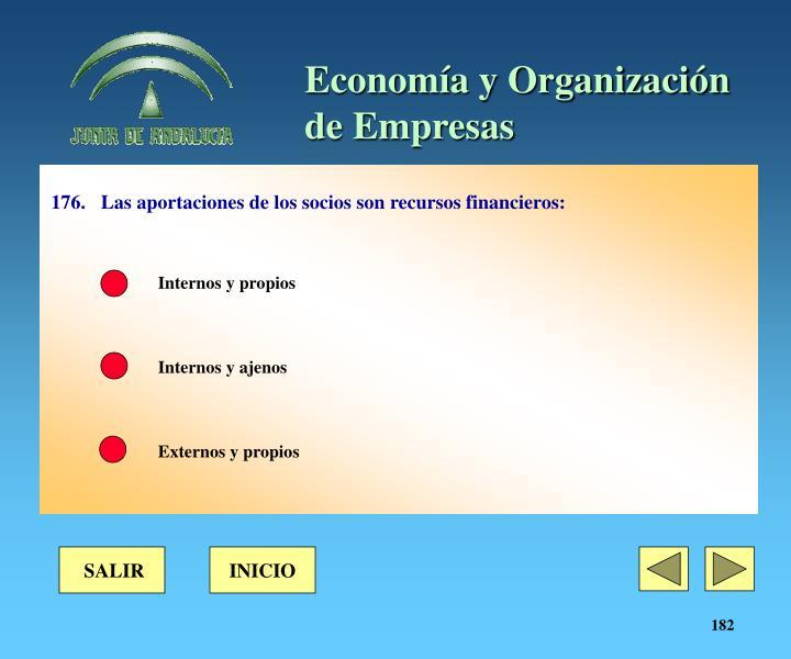 176.Las aportaciones de los socios son recursos financieros: