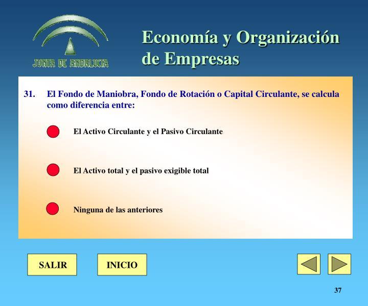 31. El Fondo de Maniobra, Fondo de Rotación o Capital Circulante, se calcula