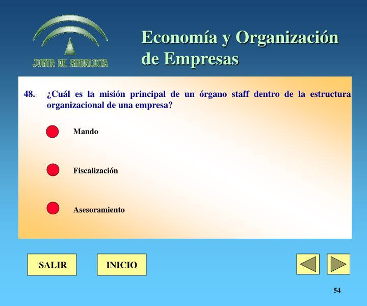 48. ¿Cuál es la misión principal de un órgano staff dentro de la estructura organizacional de una empresa?