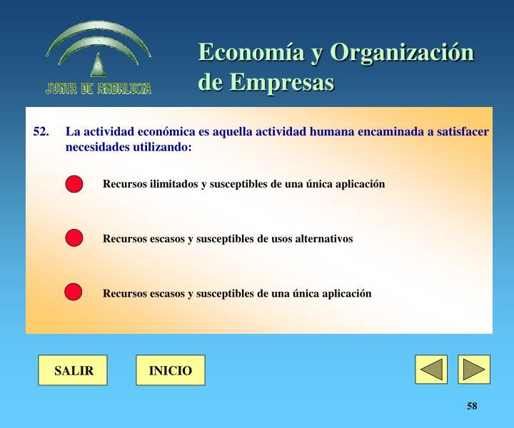 52. La actividad económica es aquella actividad humana encaminada a satisfacer necesidades utilizando: