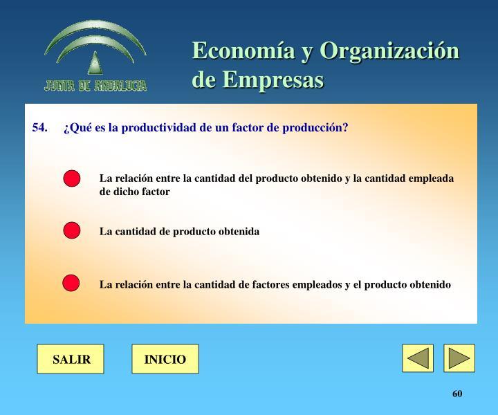 54. ¿Qué es la productividad de un factor de producción?
