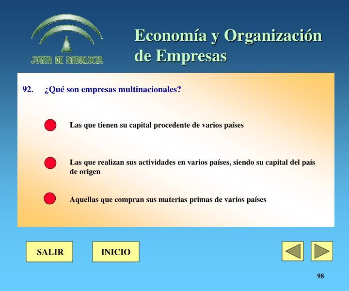 92. ¿Qué son empresas multinacionales?