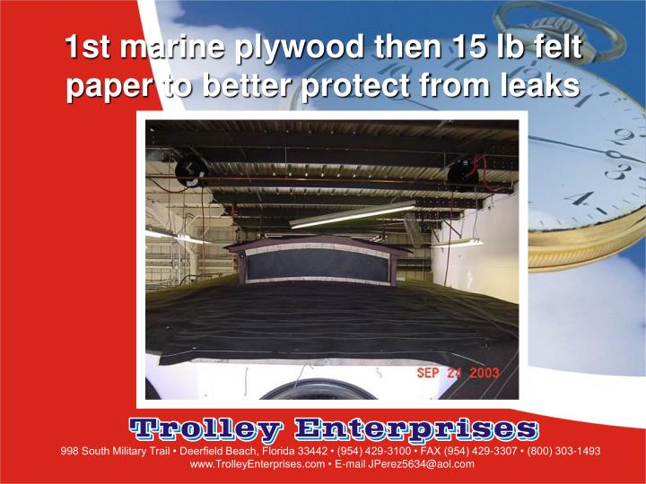 1st marine plywood then 15 lb felt paper to better protect from leaks