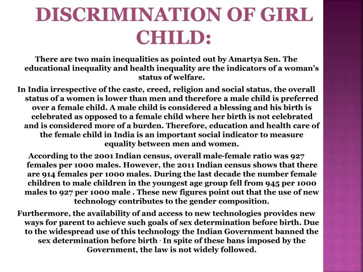 DISCRIMINATION OF GIRL CHILD: