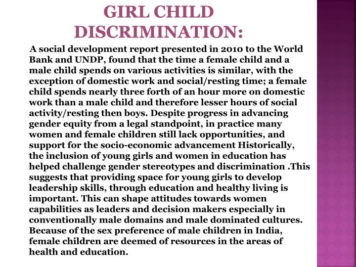 GIRL CHILD DISCRIMINATION: