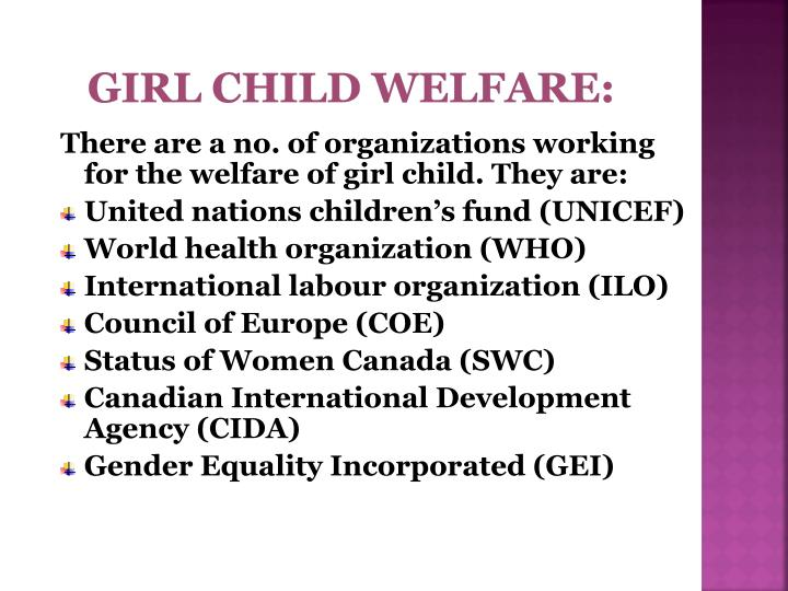 Girl child welfare: