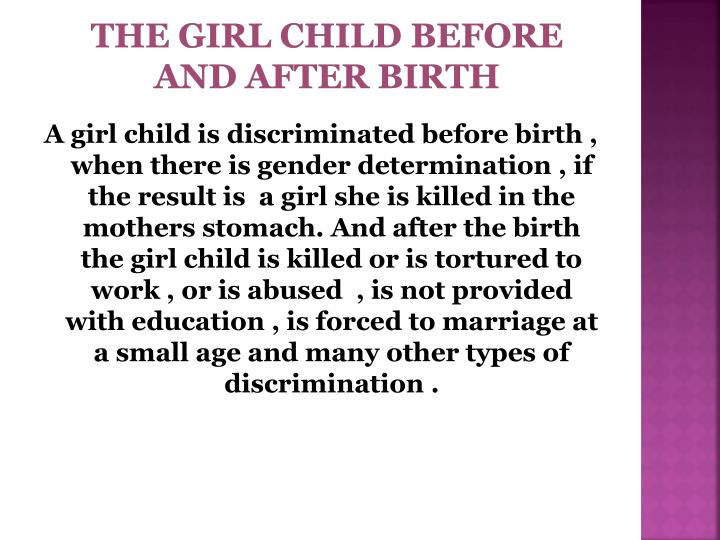 the girl child before and after birth