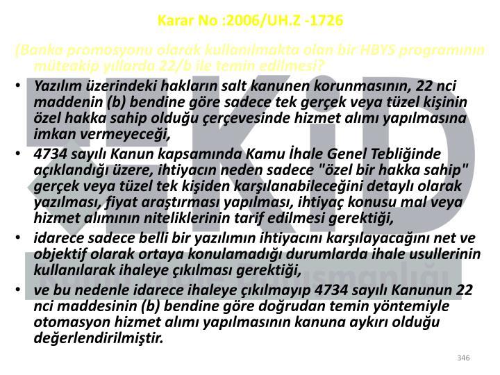 Karar No:2006/UH.Z -1726