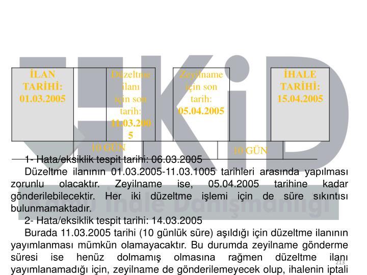 1- Hata/eksiklik tespit tarihi: 06.03.2005