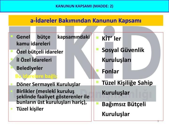 Genel bütçe kapsamındaki kamu idareleri