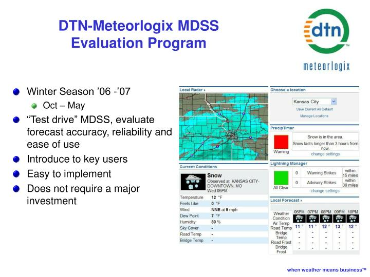 DTN-Meteorlogix MDSS Evaluation Program