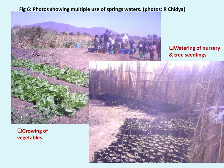 Fig 6: Photos showing multiple use of springs waters.