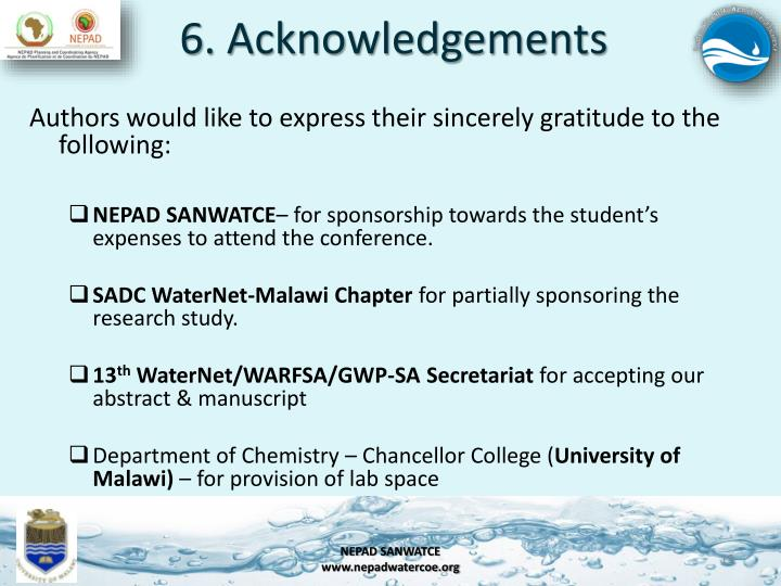 6. Acknowledgements