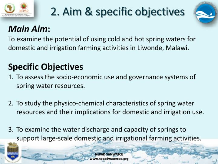 2. Aim & specific objectives