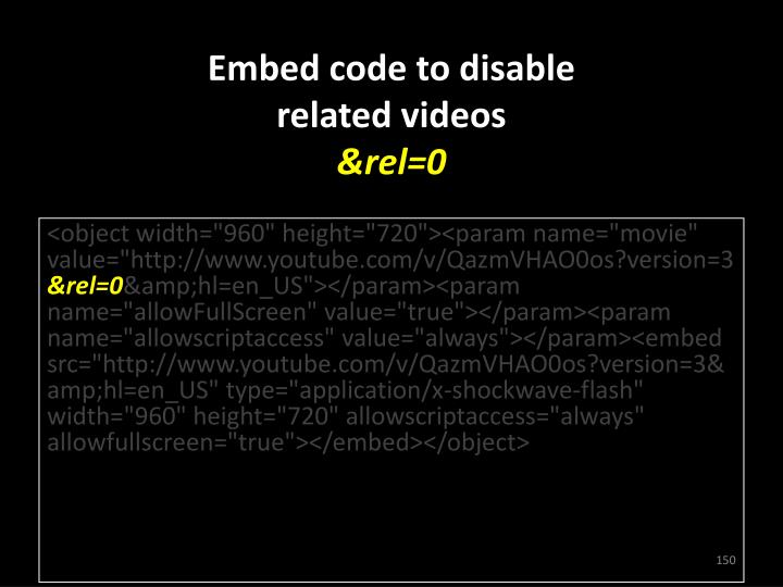 Embed code to disable