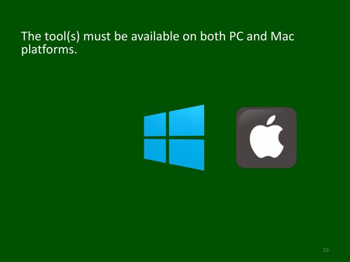 The tool(s) must be available on both PC and Mac platforms.
