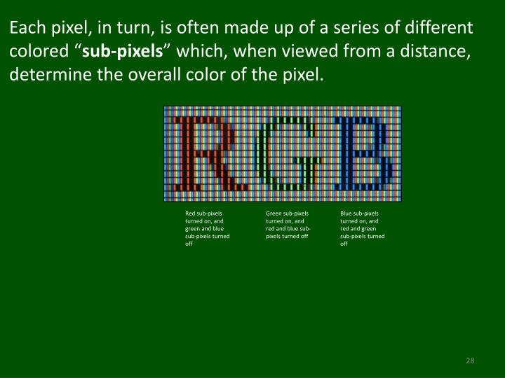 Each pixel, in turn, is often made up of a series of different colored ""