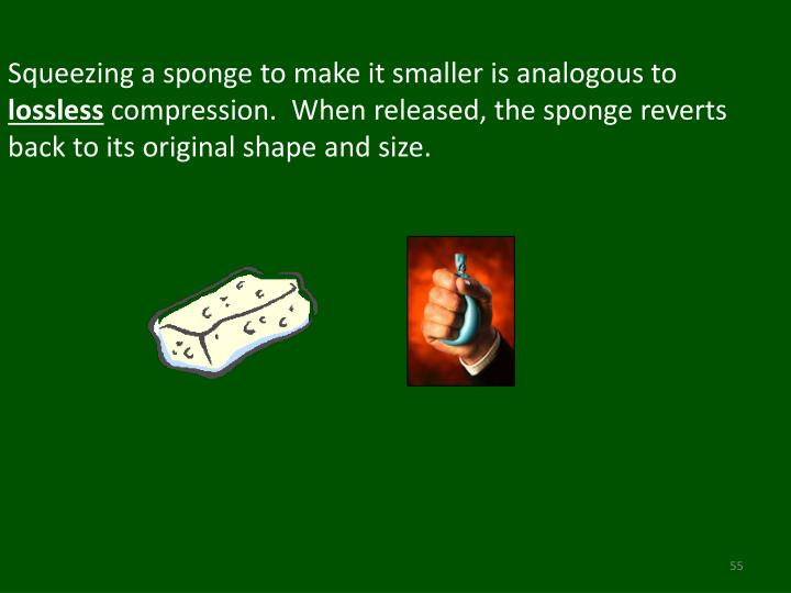 Squeezing a sponge to make it smaller is analogous to