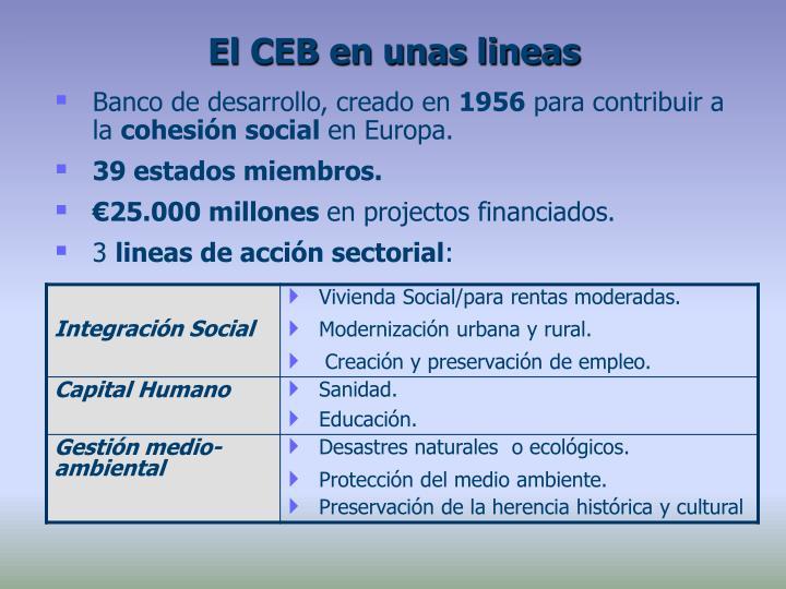 El CEB en unas lineas