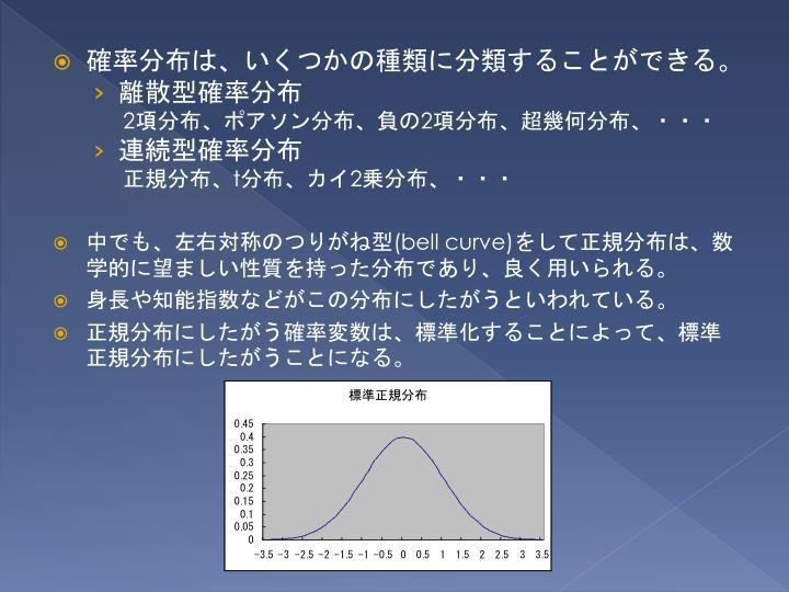 確率分布は、いくつかの種類に分類することができる。