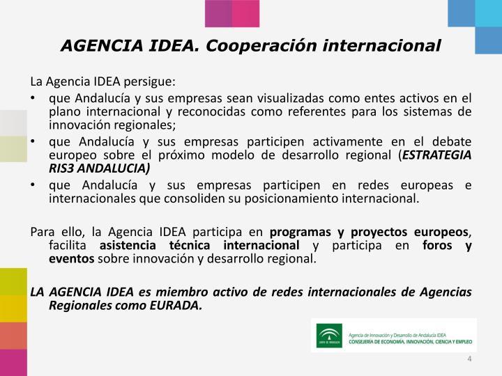 AGENCIA IDEA. Cooperación internacional